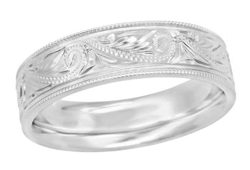 Men's 6.5mm Wide Vintage Engraved Scrolls Western Wedding Band in 14K White Gold