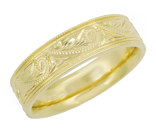 Men's Engraved Art Deco Scrolls 6.5 mm Vintage Style Western Wedding Band in 14 Karat Yellow Gold - Item: R1204Y - Image: 1