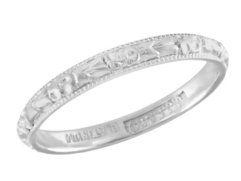 1920's Sculptured Floral Antique Wedding Ring in Platinum - Size 4.50