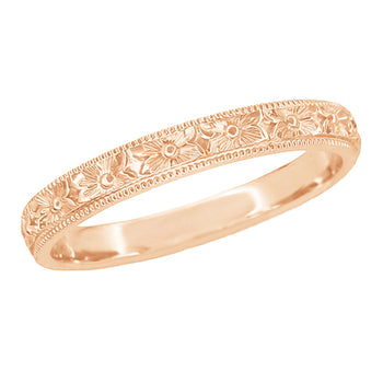 Edwardian Pansies Antique Engraved Wedding Band in 14 Karat Rose Gold