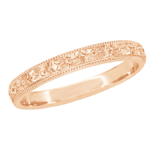 Rose Gold Vintage Wedding Band with Pansy Engraving - R1234R