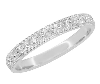 Edwardian Pansy Flowers Hand Engraved Wedding Band in White Gold - 3mm Wide