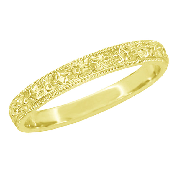 Yellow Gold Vintage Wedding Ring With Engraved Floral Pattern - Edwardian Pansy Flowers Hand Carved Band 3mm Wide - R1234Y