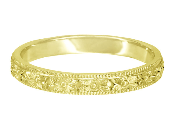 Yellow Gold Vintage Carved Pansy Flowers Edwardian Wedding Ring - Item: R1234Y14 - Image: 1