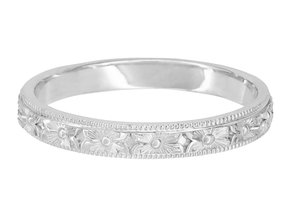 Front of White Gold Hand Engraved Pansy Flowers Vintage Wedding Ring R1234