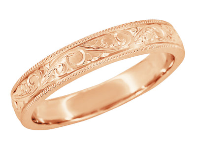 14K Rose Gold Antique Style Men's Victorian Carved Acanthus Wedding Band