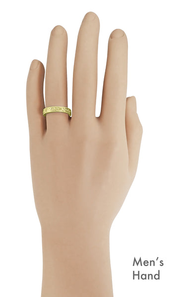 Yellow Gold Acanthus Victorian Wedding Band on a Man's Hand - R1235MY