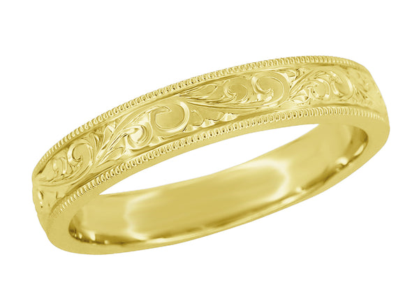 Yellow Gold 4mm Wide Engraved Acanthus Vintage Victorian Wedding Band for a Man - R1235MY
