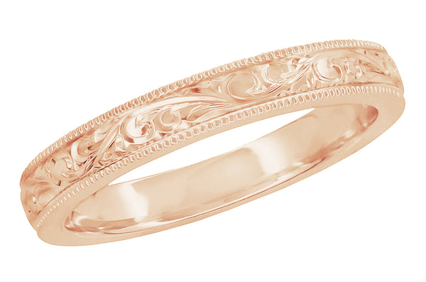 Rose Gold Acanthus Scroll Engraved Antique Victorian Wedding Band for a Woman 3mm Wide