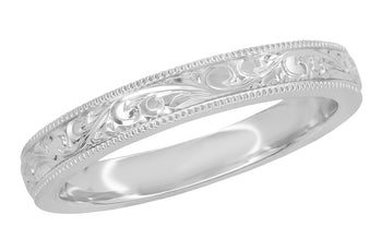 Classic Victorian Carved Acanthus Wedding Band in White Gold