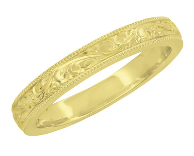 Victorian Yellow Gold Acanthus Scrolls Carved Antique Style Wedding Band