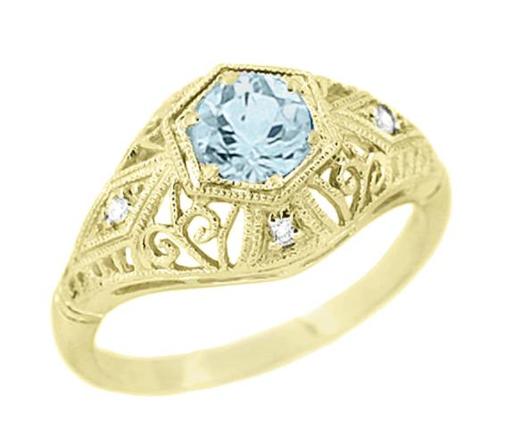 Edwardian Aquamarine & Diamonds Scroll Dome Vintage Filigree Engagement Ring in 14K Yellow Gold