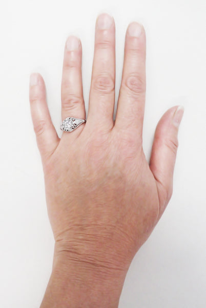 Edwardian Antique Engagement Ring R139PD on a Real Hand