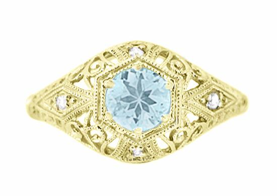 Edwardian Aquamarine and Side Diamonds Scroll Dome Hexagon Filigree Antique Engagement Ring in Yellow Gold
