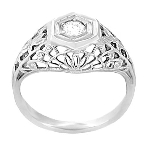 Art Deco Filigree Dome Diamond Engagement Ring in 14 Karat White Gold - Item: R148 - Image: 1