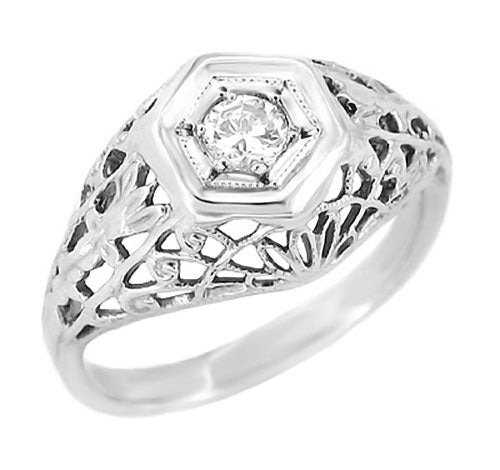 Art Deco Filigree Dome Diamond Engagement Ring in 14 Karat White Gold