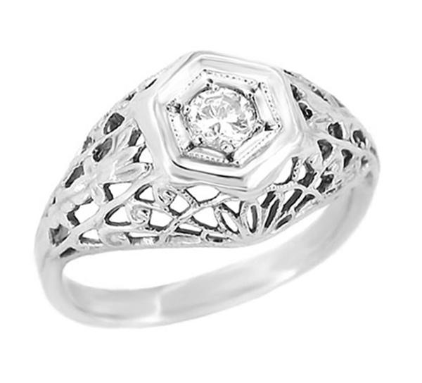 Platinum Vintage Dome Engagement Ring - 1930's Filigree Diamond Solitaire - Cornfield