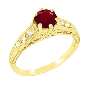 Ruby and Diamond Filigree Engagement Ring in 14 Karat Yellow Gold