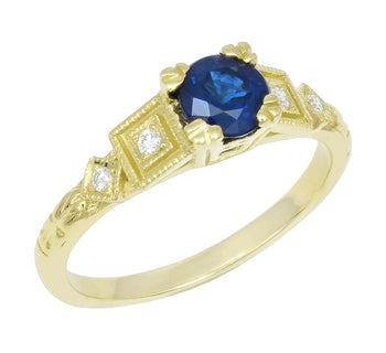 Vintage Inspired Art Deco 18K Yellow Gold Blue Sapphire and Diamonds Engagement Ring