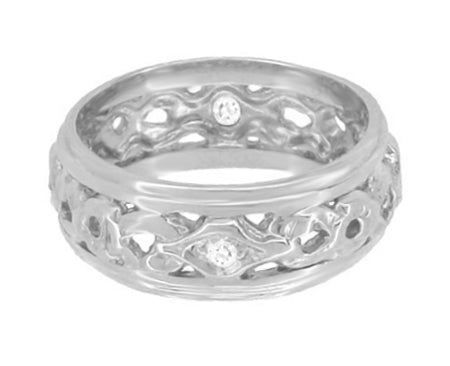 Greenfield Art Deco Filigree 7.5mm Wide Diamond Wedding Band in 14K White Gold - Item: R196 - Image: 1
