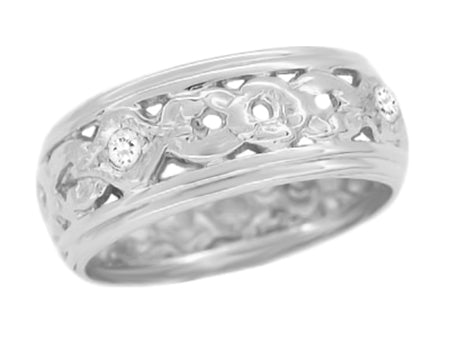 7.5mm Wide Vintage Floral Filigree Wedding Band with Diamonds in White Gold - Ring Size 7 - R196