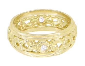 Glenbrooke Art Deco Filigree Wide Diamond Wedding Ring in 14 Karat Yellow Gold