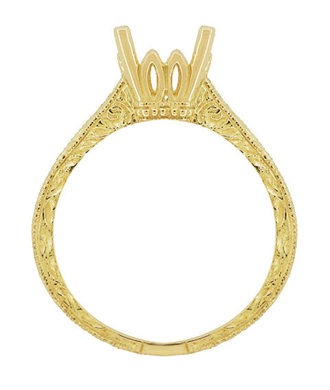 Art Deco 3/4 Carat Crown Scrolls Filigree Engagement Ring Setting in 18 Karat Yellow Gold - Item: R199PRY75 - Image: 1