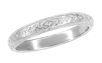 Antique Style Art Deco Wedding Flowers Band in 18K or 14K White Gold