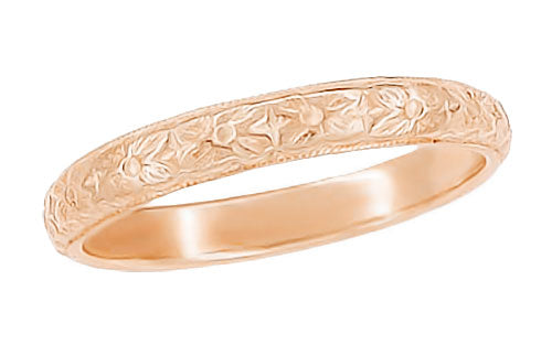 Art Deco Antique Style Wedding Flowers Band in 14 Karat Rose ( Pink ) Gold - 2.9mm Wide