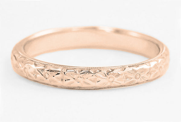 Rose Gold Hand Engraved Pansy Flowers Antique Wedding Ring - R209R