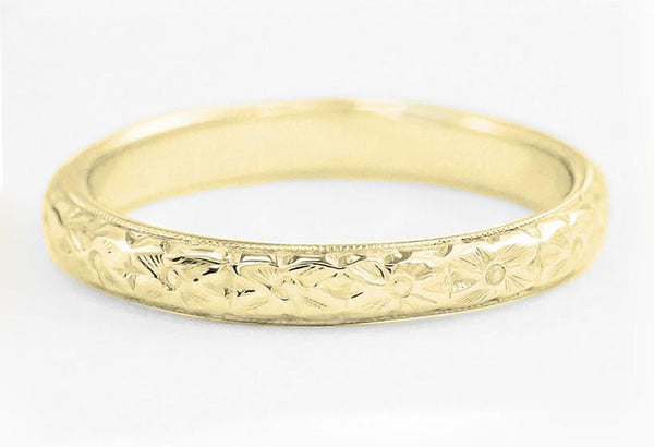 Front of Yellow Gold Art Deco Hand Engraved Dogwood Flowers Vintage Domed Wedding Band 3mm Wide - R209Y