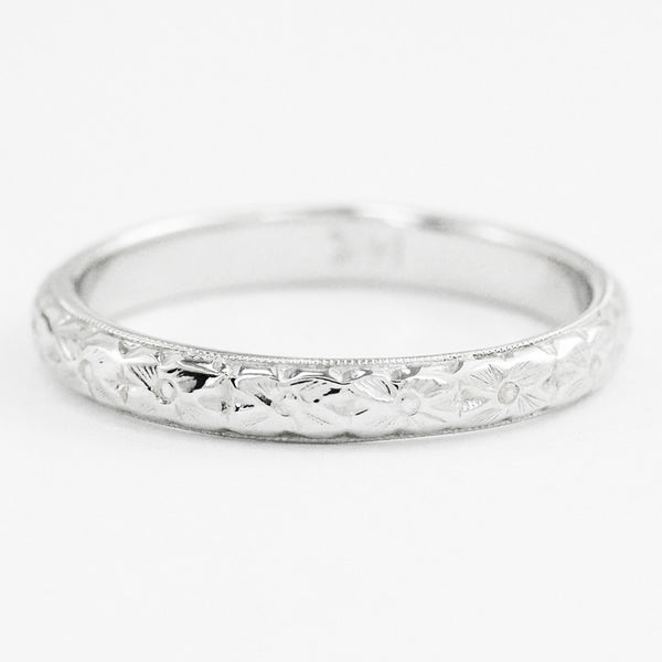 Antique Style Art Deco Wedding Flowers Band in 14 Karat White Gold - Item: R209 - Image: 1