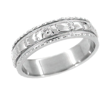 Art Deco Wide Carved Floral Platinum Wedding Band