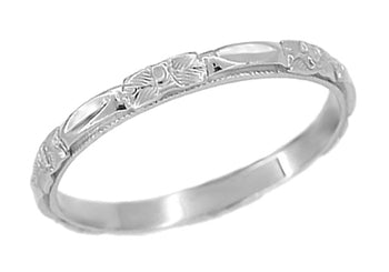 Art Deco Platinum Roses Sculptured Wedding Band