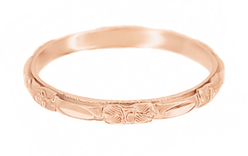 Vintage Rose Gold Carved Roses Wedding Band 2mm Wide - Circa 1920s - R224R