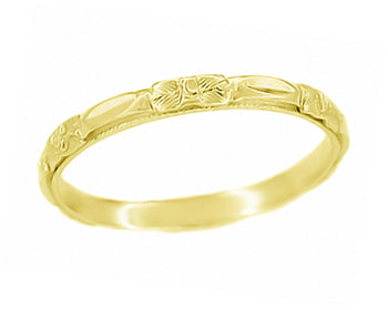 14 Karat Yellow Gold 1920's Art Deco Sculptured Roses Wedding Ring