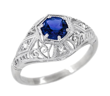 Blue Sapphire and Diamonds Scroll Dome Edwardian Filigree Engagement Ring in 14 Karat White Gold | 1910 Vintage Design