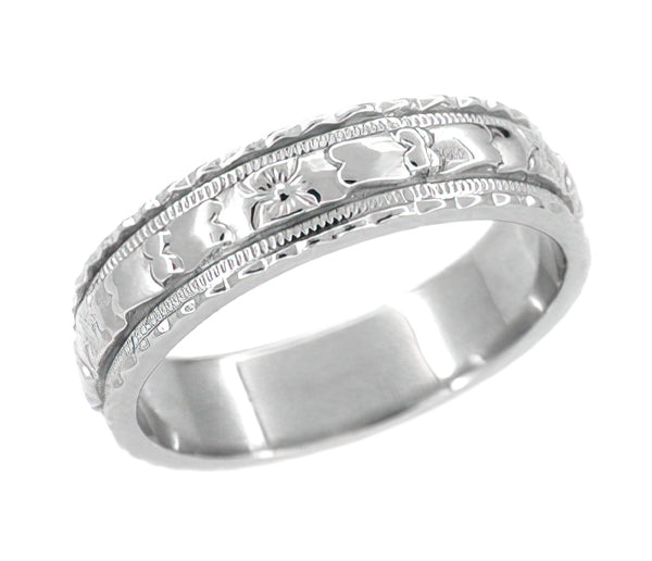 Art Deco Sculptural Floral Wedding Ring in White Gold - 5mm Wide