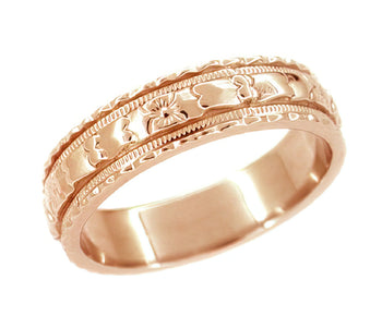 Art Deco Wide Floral Wedding Ring in 14 Karat Rose Gold