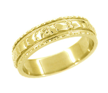 Art Deco Yellow Gold 5mm Wide Floral Carved Wedding Ring