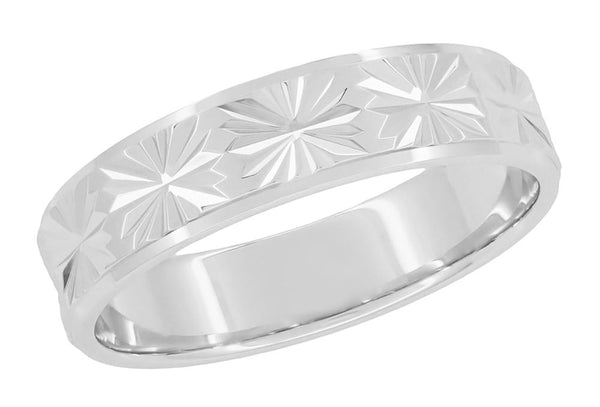 1960's Mid Century Modern Starburst Engraved Low Profile Vintage Wedding Band in 14K White Gold - 5mm