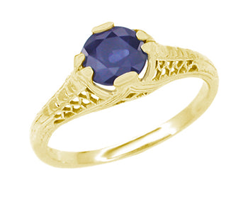 Art Deco Honeycomb Filigree Blue Sapphire Engagement Ring in 14K Yellow Gold