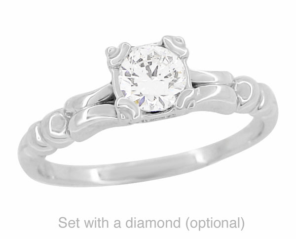 Mid Century Vintage Style 1/3 Carat Engagement Ring Mounting in 14 Karat White Gold - Item: R295 - Image: 2