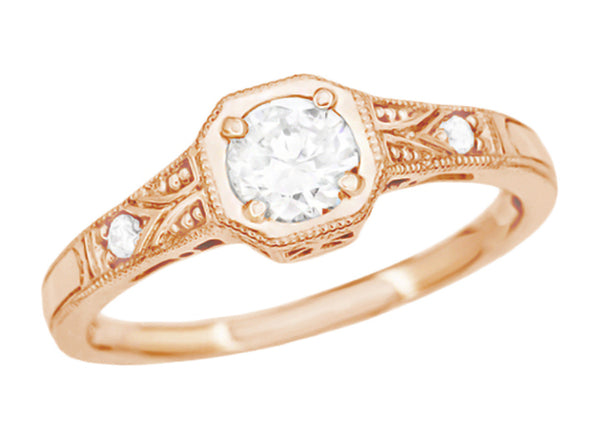 Rose Gold 1930's Vintage Art Deco Filigree White Sapphire Engagement Ring - Low Setting - R298RWS