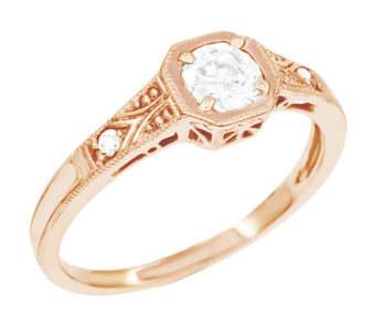 Rose Gold 1930's Vintage Style Art Deco Filigree White Sapphire Engagement Ring