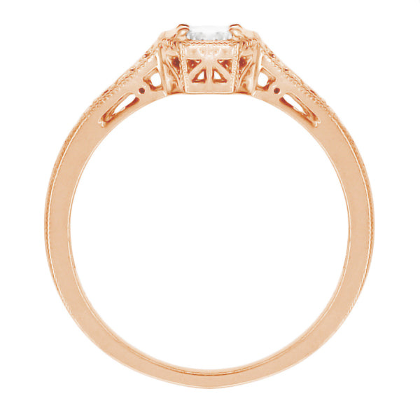 Side View Filigree Rose Gold 1930's Vintage Art Deco White Sapphire Engagement Ring - Flush Setting Style with Bead Prongs