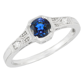 Art Deco Filigree Sapphire and Diamond Platinum Engagement Ring