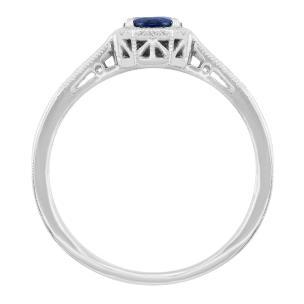 Art Deco Filigree Sapphire and Diamond Platinum Engagement Ring - Item: R298S - Image: 1