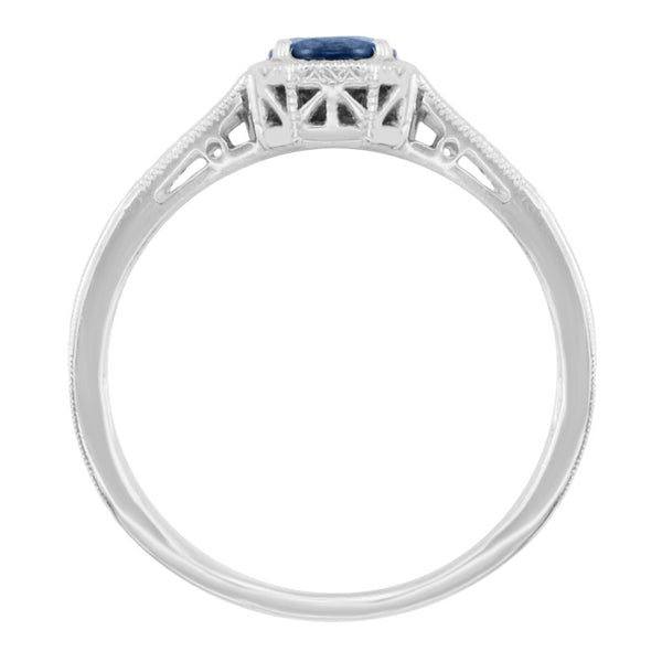 Art Deco Filigree Blue Sapphire and Diamond Engagement Ring in 18 Karat  White Gold - Item: R298WS - Image: 1