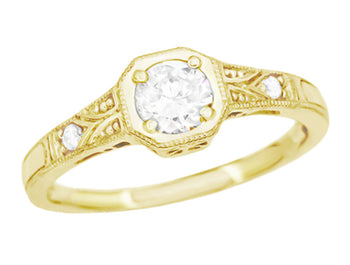 18K Yellow Gold Vintage Style Art Deco Filigree White Sapphire Engagement Ring